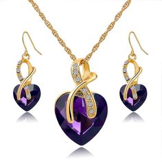 Crystal Heart Gold Plated Necklace Earrings Set