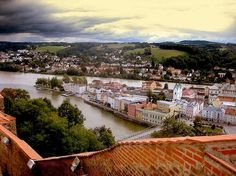 Passau, Germany - the Inn and Danube rivers are meeting River Cruises In Europe, European River Cruises, Great Places, Beautiful Places, Places To Visit, Passau Germany, Germany Castles, Danube River, Germany Travel