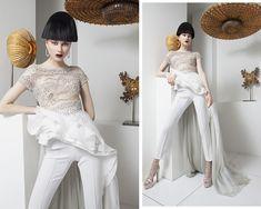Haute couture and light sculptures designed by Regis Mathieu, galerie Lumières