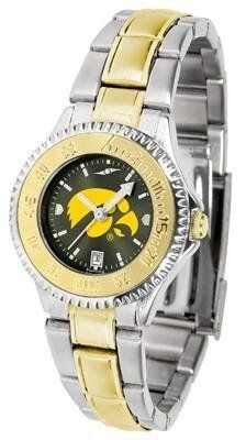 Iowa Hawkeyes Competitor AnoChrome Ladies Watch with Two-Tone Band by SunTime. $94.95. Two-Tone Stainless Steel. Officially Licensed Iowa Hawkeyes Ladies Stainless Steel and Gold Tone Watch. Water Resistant. Women. Links Make Watch Adjustable. The ultimate NCAA fan's statement, this Iowa Hawkeyes Competitor Two-Tone timepiece offers women a classic, business-appropriate look. Features a 23kt gold-plated bezel, stainless steel case and date function. Secures to your wri...