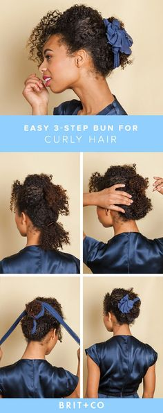 Check out this tutorial for an easy curly hair updo.