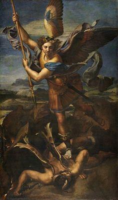 Raffaello SANTI, dit RAPHAËL (Urbino, 1483 - Rome, 1520), Saint Michel terrassant le démon, dit Le Grand Saint Michel, Bois transposé sur toile en 1751, H. : 2,68 m. ; L. : 1,60 m, Signé et daté sur le bord de la tunique de saint Michel : RAPHAEL. VRBINAS. PINGEBAT M.D.XVIII, Musée du Louvre INV. 610