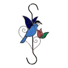 Sunlit Gifts Plant Hanger (10-inch Bluebird) / Bird Feeders Hook: Beautiful Hand Made Stained Glass (with Metal S Hooks) - Ornament Hangers for Hanging Planters, Flower Baskets, Pots, Bird Houses *** Want additional info? Click on the image.