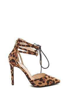Y Ask Leopard Lace-Up Heels #leopard #heels #laceup #pointy #gojane
