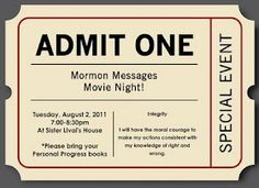 Jeanius Ideas for YW: Mormon Messages Movie Night   (set up screen and projector and watch mormon messages/rewatch YW conference since no one was there with snacks and lanterns. Cosy with blankets and pillows)