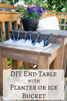 This DIY end table is genius! Switch out the planter box for an ice bucket during summer BBQs. Free woodworking plans at The Handyman's Daughter. | outdoor furniture | woodworking | free plans | outdoor side table | DIY side table | wooden planter | party table