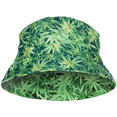 03f890dda14 Womens Stylish Weed Light 3D Print Cotton Padded Bucket Hat Green ( 6.89) ❤  liked on Polyvore featuring accessories