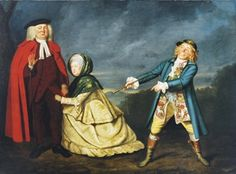 Christie's: Edward Shuter as Mr. Hardcastle, Jane Green as Mrs. Hardcastle and John Quick as Tony Lumpkin, in the play 'She stoops to conquer' by Oliver Goldsmith. [Mrs. Hardcastle in a sacque jacket and petticoat, jacket with elbow ruffles and lower sleeves that may indicate it is a Brunswick. No sign of a hood.]
