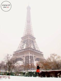 A snow covered Eiffel Tower, Paris