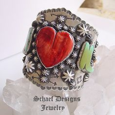 Schaef Designs Large Spiny heart & stars and turquoise boots, sterling silver cuff bracelet | Schaef Designs Southwestern Equine Equestrian Jewelry | New Mexico
