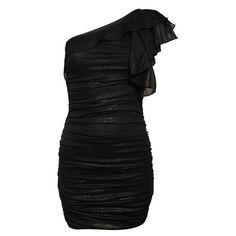 Shimmer Zip One Shoulder Dress ($49) ❤ liked on Polyvore