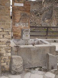 Roman Drinking Fountain on Via Stabiana, Pompeii, Campania, Italy