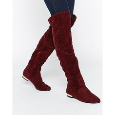Daisy Street Oxblood Flat Over The Knee Boots ($72) ❤ liked on Polyvore featuring shoes, boots, oxblood, side zipper boots, overknee boots, side zip boots, low heel boots and oxblood boots