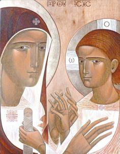 The Theotokos & Christ contemporary icon by Lyuba Yatskiv (Ukraine) Byzantine Icons, Byzantine Art, Christian Images, Christian Art, Madonna And Child, Art Icon, Orthodox Icons, Blessed Mother, Sacred Art