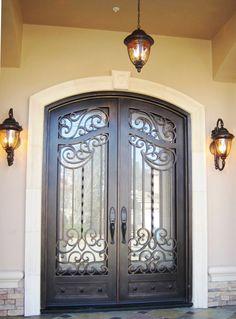 Wooden Front Door Design, Door Gate Design, Wooden Doors, Front Door Entryway, Iron Front Door, Entry Doors, Modern Windows And Doors, Fachada Colonial, Traditional Front Doors