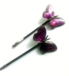 Hey, I found this really awesome Etsy listing at https://www.etsy.com/listing/239376875/vintage-enamel-butterfly-hair-pins