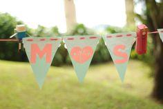 DIY wedding banner/bunting Guads & Sega #martandsega Bunting, Diy Wedding, Banner, Amp, Christmas Ornaments, Holiday Decor, Banner Stands, Garlands, Banners