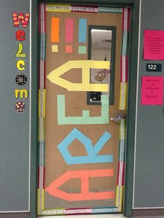 My door showcasing the previous area and perimeter door that I saw on Pinterest!! This is a Readiness Standard!!!
