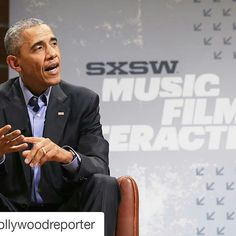 """#Repost @hollywoodreporter with @repostapp ・・・ #President #Obama touched down in #Austin, Texas today to speak at #SXSW. During the music and film fest, Obama called for the tech industry to join the government """"to solve some of the big problems we are facing today."""" The President added, """"The reason I'm here really is to recruit all of you."""" (@gettyimages)"""