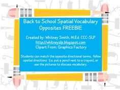 Back To School Spatial Vocabulary - Pinned by @PediaStaff – Please Visit  ht.ly/63sNt for all our pediatric therapy pins