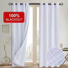 Primitive Linen Look,100% blackout curtain(with Liner)White blackout curtains& Blackout Thermal Insulated Liner,Grommet Curtains for Living Room/Bedroom,burlap curtains-Set of 2 Panels(50x108 White)p2