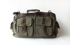 Mens Men Retro handmade canvas leather overnight duffel weekend tote bag travel luggage on Etsy, $55.99