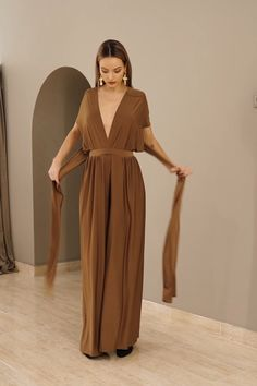 Bridesmaid Dresses Discover Off shoulder casual jumpsuit bridesmaid jumspuit long jumpsuit Jumpsuit For Women Brown Jumpsuit Golden Brown Multi Jumpsuit - Women Jumpsuit - Chocolate Convertible Jumpsuit - Jersey Material - Bridesmaid jumpsuit Asos Jumpsuit, Jumpsuit Outfit, Casual Jumpsuit, Formal Jumpsuit, Elegant Jumpsuit, Brown Jumpsuits, Long Jumpsuits, Jumpsuits For Women, Sexy Outfits