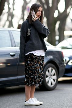 Street Style at Men's Fashion Week Fall 2015 | StyleCaster - textured midi skirt + slouchy sweatshirt and white sneakers
