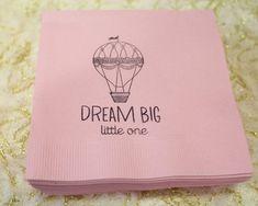 Hot Air Ballon Party; Napkins; Birthday Party; Vintage Hot Air Balloon Party Ideas; Pink; Dream Big