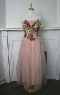 Vintage 1950s Pink Poppies Tulle Party Prom Dress by adelinesattic, $118.00