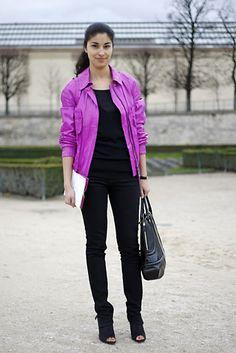 Caroline Issa street style ; color biker jacket