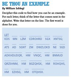 LDS Games - Word Codes - Be Thou an Example
