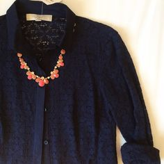 LOFT | NWT Navy Lace Button Down Blouse NWT never worn! Navy lace blouse with solid navy color. Perfect for work. Unique and beautiful! LOFT Tops Button Down Shirts
