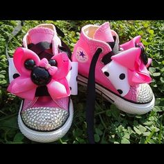 Minnie Mouse converse blinged out any size u want I decorate them my self let me know the size u want I will take care of everything else I can so any knid if shoe price varies Converse Shoes