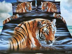 3D Tiger Bedding sets Queen size Full double quilt duvet covers bed in a bag bed sheet spread bedspread polyester bedset 4PCS
