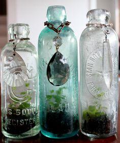 pop bottle terrariums with crystal necklaces