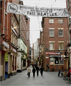 Mathew Street Liverpool England, this is the road that lead to the Cavern Club! Love this street all pubs and stores now!