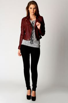 Carrie Wine PU Biker Jacket