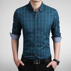 New Autumn Fashion Brand Men Clothes Slim Fit Men Long Sleeve Shirt Men Plaid 100% Cotton