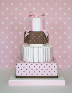 Pink, brown and white wedding cake