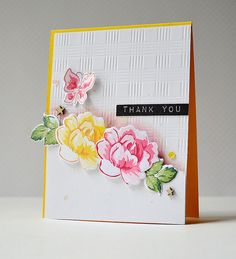Altenew Vintage Flowers stamps and dies, and Altenew inks. Background embossing from Papertrey Ink Picnic Plaid die.