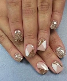 golden, nude and white geometrical nails
