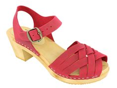 Lotta From Stockholm Swedish Clogs : Moheda Betty High Heel Clog in Red Nubuck Leather US 5 / EUR 35