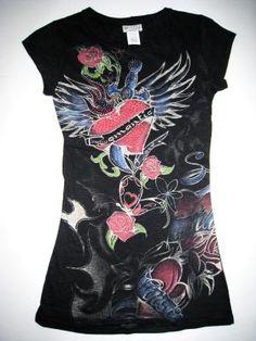 Romantic Heart Dagger Tattoo Graphic T-Shirt Black - Jrs. Sz Small - New - Free Shipping