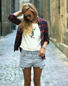 Upscale grunge- YSL + flannel shirt