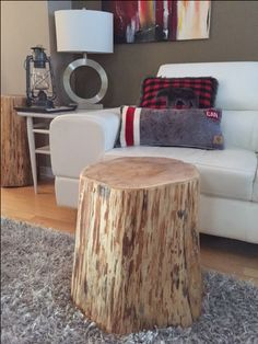 Stump Side Table Log Furniture Tree Trunk Eco Friendly