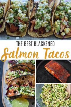 Blackened Salmon Tacos with Corn Avocado Salsa Recipe Blackened Salmon Tacos with Corn Avocado Salsa Recipe The Foodie Dietitian karalydon Tacos Blackened Salmon Tacos with Corn Avocado Salsa nbsp hellip Salmon Fish Tacos, Blackened Fish Tacos, Blackened Salmon, Blackened Recipe, Salmon Recipes, Fish Recipes, Seafood Recipes, Mexican Food Recipes, Cooking Recipes