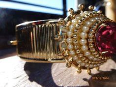 Unique Gold Tone Coro Clamper Bracelet with Huge by PhiasJewels