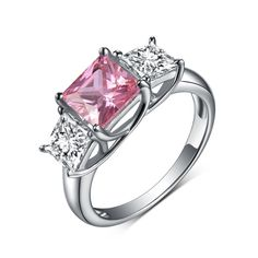Princess Cut 925 Sterling Silver Three Stone Pink