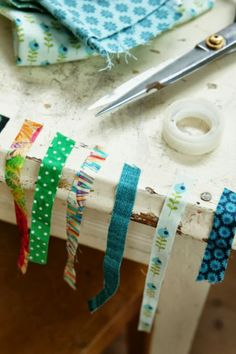 fabric strips and double sided tape as DIY fabric tape